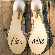 Iné doplnky - Nálepky na svadobné topánky - He's mine - 9789649_
