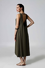 Šaty - Šaty midi voľné khaki (40) - 9792841_