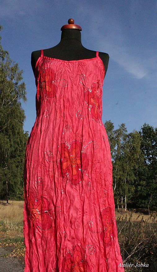 Hedvábné šaty malinové Květy   jobka - SAShE.sk - Handmade Šaty 681619f9e9