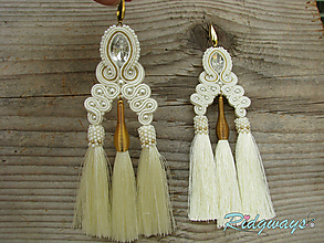 Náušnice - Tassels collection...soutache (Ivory/Gold) - 9794667_