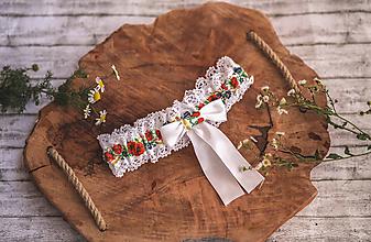 Bielizeň/Plavky - Svadobný folklórny podväzok - 9796037_