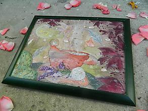 Obrazy - Kávička s kokosovou guľkou a levanduľou Maľovaný vyšívaný obraz - 9793937_