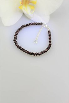 Náramky - Granát facetovaný náramok v striebre - luxusný - 9794426_