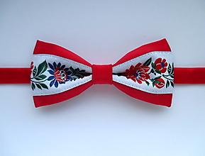 Doplnky - pánsky motýlik FOLK červený II. - 9794780_