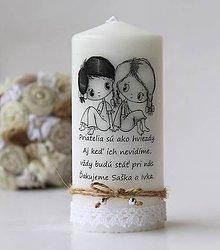 Svietidlá a sviečky - Dekoračná sviečka pre priateľku IV. (Čierno-biela) - 9794798_