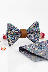Doplnky - Exkluzívny set - pánsky kvetinový motýlik, vreckovka a gombíky - Marquess - 9795439_