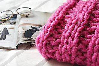 Úžitkový textil - Vlnená pletená deka - pink - 9793569_