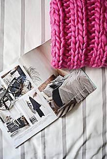 Úžitkový textil - Vlnená pletená deka - pink - 9793573_