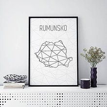 Grafika - RUMUNSKO, minimalistická mapa - 9793102_