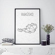 Grafika - RAKÚSKO, minimalistická mapa - 9793123_