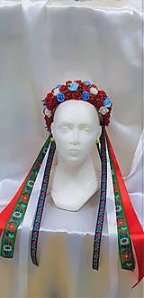 Ozdoby do vlasov - Folková kvetinová parta na čepčenie so stuhami - 9794475_