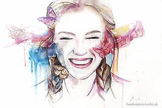 Obrazy - Portrét s motýľmi (plagát) - 9794167_