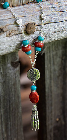 Náhrdelníky - Koralovo-tyrkenitový náhrdelník - 9795558_