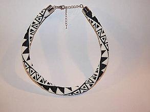 Náhrdelníky - Čierno biely náhrdelník - 9798841_