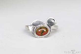 Prstene - Strieborný prsteň s unakitom - Čvirik - 9796358_