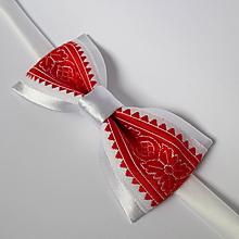 Doplnky - bielo červený pánsky motýlik s výšivkou - 9798744_