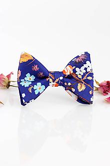 """Doplnky - Hodvábny kvetinový motýlik """"Blue garden"""" - 9798145_"""