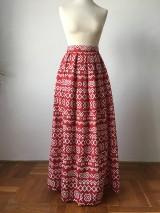- červená folk sukňa Čičmany dlhá - 9797424_