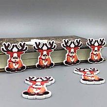 Galantéria - gombík vianočný sobík 32mm - 9797628_