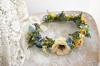 Ozdoby do vlasov - Kvetinový venček ,,žlto-modrý,, - 9797770_