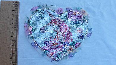 Iný materiál - Nášivka srdce reversible jednorožec - 9796651_