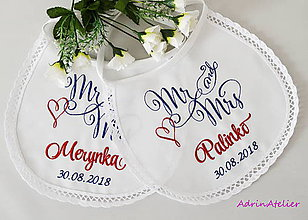 Iné doplnky - svadba -podbradníky vyšívané - 9798474_
