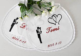 Iné doplnky - svadba -podbradníky vyšívané - 9798490_