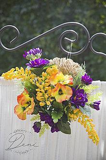 Dekorácie - Venček fialovo-žltý - 9798015_