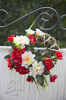 Dekorácie - Venček červeno-biely - 9798074_