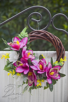 Dekorácie - Venček ružovo-biely - 9798089_