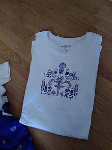 Oblečenie - Pánske/Maľované tričko/Biele s modrým obrázkom - 9796467_