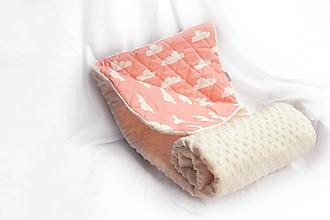 Textil - Minky deka / zavinovačka 100x75cm Ivory & koral - 9796090_