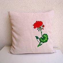 Úžitkový textil - Ľanová obliečka na vankúš (Muškát/Pelargonium hortorum) - 9797047_