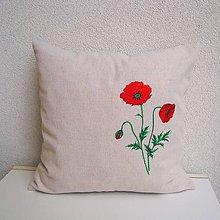 Úžitkový textil - Ľanová obliečka na vankúš (Mak vlčí/Papaver rhoeas 1) - 9797828_