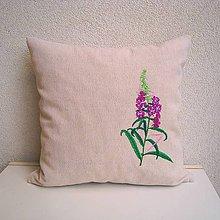 Úžitkový textil - Ľanová obliečka na vankúš (Vŕbovka úzkolistá/Chamaenerion angustifolium) - 9797988_