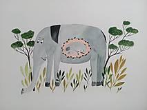 Obrazy - Slon a slonik ilustracia / originál maľba  - 9799116_