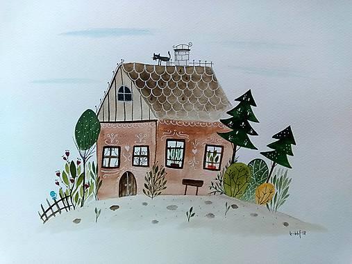 Chalúpka pri lesíku ilustrácia / originál maľba