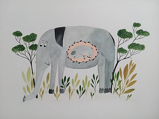 Slon a slonik ilustracia / originál maľba