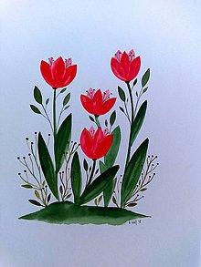 Obrazy - Tulipány ilustrácia / originál maľba - 9799111_