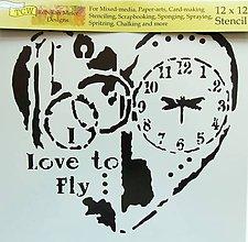 Pomôcky/Nástroje - Šablóna TCW - 30x30 cm - love to fly, srdce, čas, hodiny, vážka - 9799473_