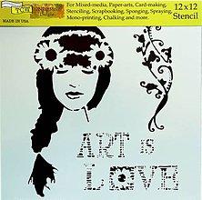 Pomôcky/Nástroje - Šablóna TCW - 30x30 cm - Art is love, kvety, láska, dievča, umenie - 9799592_