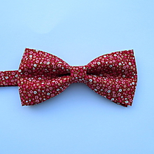 Doplnky - motýlik pánsky červený drobný kvietok - 9800081_