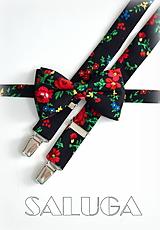 Doplnky - Čierny kvetinový motýlik a traky - pánsky set - folklórny - 9799909_