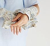 Rukavice - Pletené nátepníčky - modrý melír - 9799924_