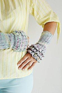 Rukavice - Pletené nátepníčky - fialový melír - 9799897_