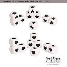 Korálky - Silikónové koráliky s hviezdou a srdiečkom - 9800180_