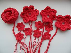 Materiál ručne robený - sada červených kvetiniek - 9800869_
