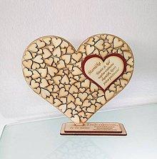 Tabuľky - Drevené srdce (srdiečko na stojane - vlastný text) - 9800275_