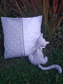 Úžitkový textil - Vankúš +mačka šedá - 9800925_