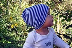 Detské čiapky - Detská celoročná merino čiapka modrý šmolko - 9800021_
